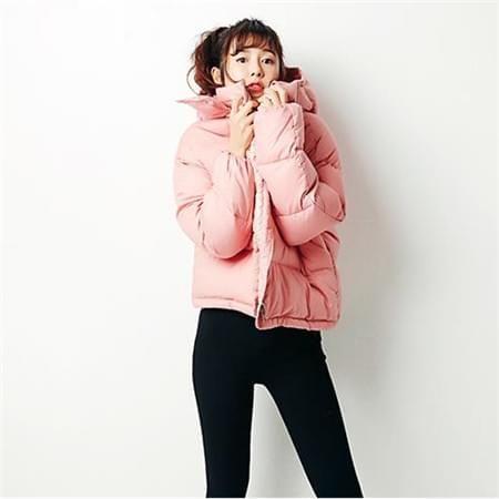 粉色冬款连帽羽绒服